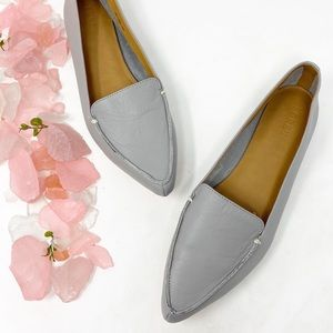 J Crew Edie Leather Pointed Toe Loafers Gray 8.5